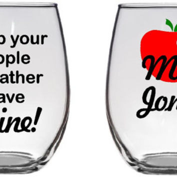 "Teacher gift ""Keep your apple I'd rather have wine"" Large 21 oz stemless wine glass Heart Apple and customized. Graduation gift!"
