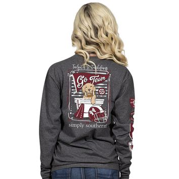"Simply Southern ""Burgundy & Black Football"" Long Sleeve Tee"