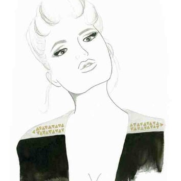 Rocker Chick - Print from original watercolor and pen fashion illustration by Lexi Rajkowski
