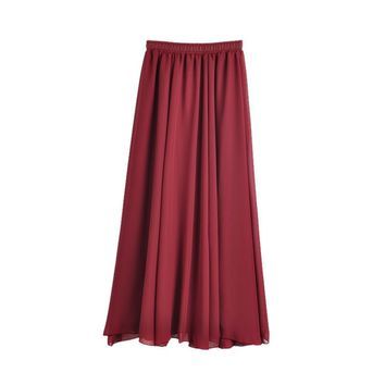 Women Chiffon Long Skirts Girls Pleated Maxi Skirts Summer Spring Skirts Candy Color