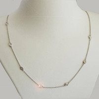 Diamond Necklace, Necklace 14K or 18K White Yellow or Rose gold