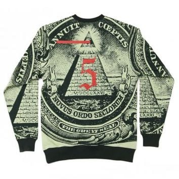 Black Scale - Green Annuit 5 Crewneck - Black Scale, Sweaters & Crewnecks, Sweaters & Crewnecks - KNYEW Clothing Boutique
