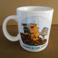 Hallmark Beaver Mug Cup Where's My Dam Coffee made in Japan