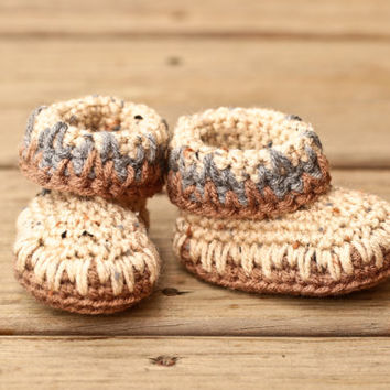 Crochet Baby Booties - Baby Moccasins - Earthy Brown and Natural Tweed Baby Shoes - Indian Moccasin Inspired - UGG Inspired - Eskimo Boots