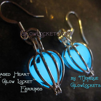 Caged Heart Glow Locket Earrings
