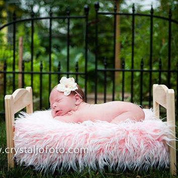 Frosted Light Pink Mongolian Faux Fur Rug Photography Prop Newborn Baby Toddler