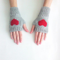 Hand Knit Fingerless Gloves in Silver Grey - Red Embroidered Heart - Grey Seamless Knit Gloves - Wool Blend