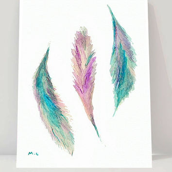 Watercolor feather painting print Boho Art boho print bedroom wall art Modern Minimalist art print original watercolor artwork teal ,purple