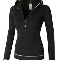 LE3NO PREMIUM Womens Lightweight Long Sleeve Active Sports Jacket Top with Hoodie