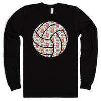 Floral Volleyball-Unisex Black T-Shirt