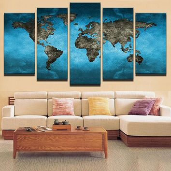 Painting Print On Canvas Home Decoration Wall Art Wall Picture For Living Room Framed 5 Panels World Map Canvas Painting Poster