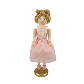 "15.5"" Decorative Wooden Christmas Nutcracker Blonde Ballerina in Pink Tutu"