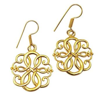 Gold-overlay Celtic Flower Knot Earrings