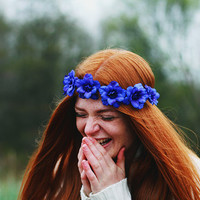 Valley of Neptune - Flower Crown / Floral Crown / Flower Halo / Flower Headband / Festival Wear / Electric Blue