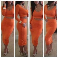 STUNNING Ladies Orange Two Piece Dress Mid Skirt Crop Top Bodycon Size 8