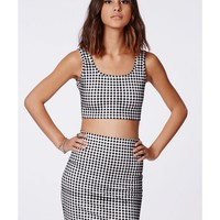 Missguided - Janet Gingham Two Piece Dress Black