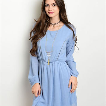 FREE U.S. SHIPPING Baby Blue Long Sleeve Dress Woven Empire Waist Dress Soft Blue Round Neckline Dress Long Sleeve Mini Dress Sky Blue Dress