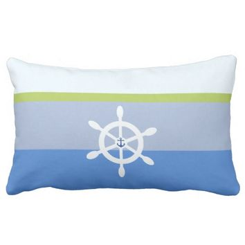 Nautical shipswheel anchor color block stripes lumbar pillow