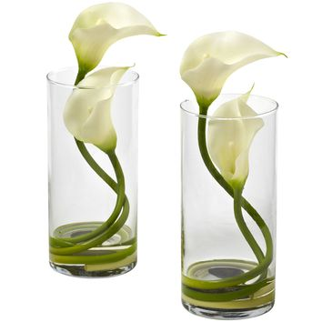 Artificial Flowers -Double Calla Lily With Cylinder -Set Of 2 Arrangement