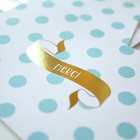 Small Thank You card Blue Dots - Thank You Merci Gold Foil