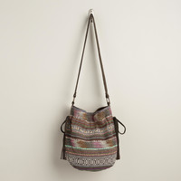 Brown and Pink Carpet Bucket Bag - World Market