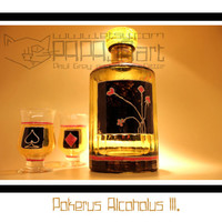 Pokerus Alcoholus III. - Hand Painted Whisky Bottle with glasses, Whiskey Bottle, Spirit Bottle, Decorative Glass