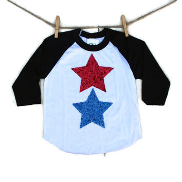 Baseball Raglan Sequin Star Shirt - Red White and Blue - Women Infant and Toddler Sizing Available