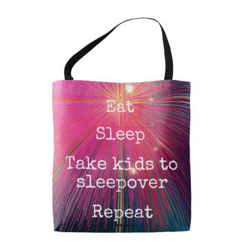 """Eat Sleep Repeat, Sleepover"" quote pink tote bag"