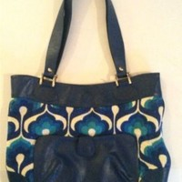 Dorothy Barrick Paris Handbag Mod Purse Bright Blue Leather Textured Cloth