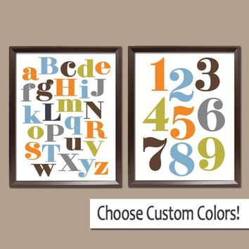 Alphabet Numbers Wall Art, ABC 123 Pictures, Canvas or Prints, Baby Boy Nursery Decor, Orange Green Blue, Choose Colors Set of 2 Decor