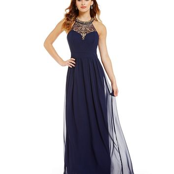 B. Darlin Jeweled Illusion High-Neckline Long Chiffon Dress | Dillards