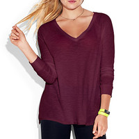 Long Sleeve Drapey Tee - PINK - Victoria's Secret