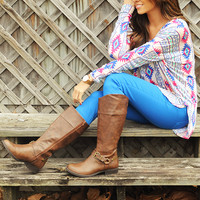 Piko Boo Tunic: Blue/Hot Pink