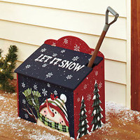 Let It Snow Sidewalk Salt Box With Shovel Christmas Holiday Winter Snowman Theme