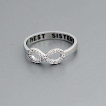 Best Sisters Infinity ring Cubic Zirconia Setting in White Gold Color