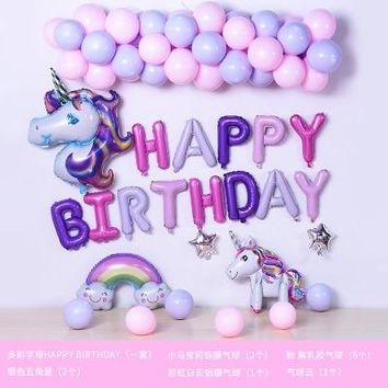 47pcs large Unicorn balloons 10 inch star candy Macaron latex Balloon Birthday Party Decor Kids Rainbow Balloons Party Supplies