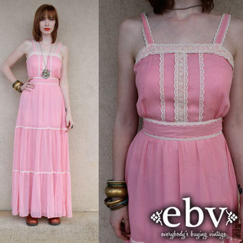 Vintage 70s Candi Jones Pink Ethereal Maxi Dress XS S
