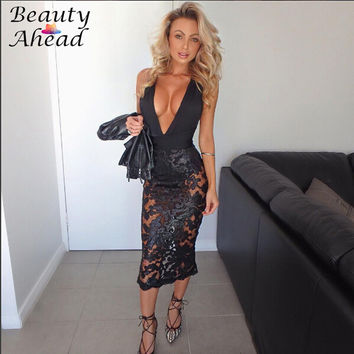 Sexy Women Suspenders Sequined Dress 2017 Hot Sale Summer Lady Hollow Out Halter Backless Floral Bandage Party Dresses Vestido