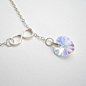 Heart Lariat Necklace Swarovski Crystal Necklace Sterling Silver Infinity Lariat Necklace Infinity Necklace Infinity Jewelry Heart Necklace