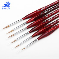 BGLN 6Pcs Weasel Hook Line Pen Fine Watercolor Paint Brush For Drawing Art Gouache Oil Painting Brush Art Supplies