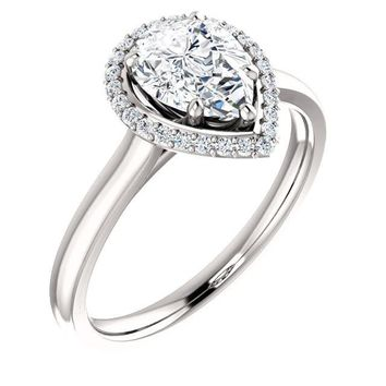 1.25 Ct Pear Halo-styled Diamond Engagement Ring 14k White Gold