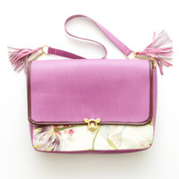 TULIPS / Floral & Leather convertible shoulder purse - Ready to Ship
