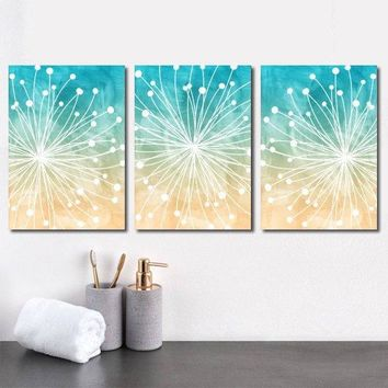 DANDELION Wall Art, Beach Bathroom Decor, Watercolor Decor, Ocean Bedroom Canvas or Prints Ocean Bathroom, Dorm Room, Set of 3 Wall Decor