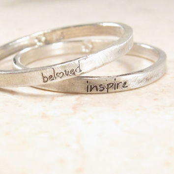 Personalized Stacking Ring -  Ultra Thin Engraved Ring - Silver Posey Ring
