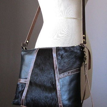 Black leather clutch, cowhide purse, wristlet clutch, cow hide handbag, zipped clutch, fur clutch, crossbody leather bag, cowhide clutch