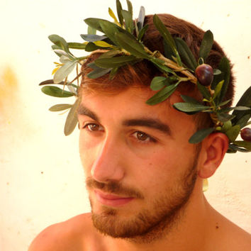 Greek God, Man Crown, Caesar, Green Leaf Crown, Leaf Hair Garland, hippie , festival crown, Lifelike olive leaf headpiece