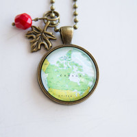 Map of Canada - Map Pendant Necklace - Custom Jewelry - Travel Necklace - You Choose Bead and Charm - Customizable - North America