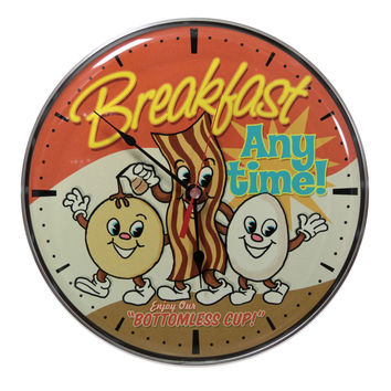 Breakfast Anytime Bacon Eggs Kitchen Wall Clock