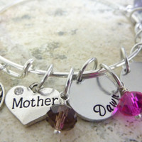 Mother's Day Mother bracelet Birthstones Tree of Life Grandma Personalized Bracelet Expandable Hand stamped Jewelry