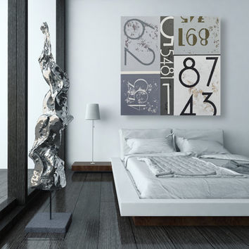 Mid Century Modern Wall Art - Black and White Abstract Typography on Canvas